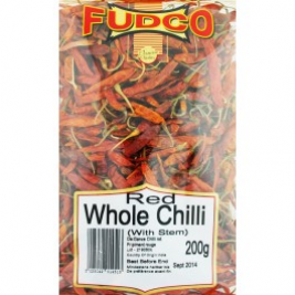 Fudco Whole Red Long Chilli With Stem 200g
